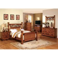 Wooden Bedroom Furniture Furniture Of America 4 Piece Country Style American Oak Bedroom