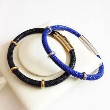 blue leather bracelet images Buy high end black blue stingray leather bracelet jpg