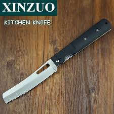 folded steel kitchen knives xinzuo 440a pocket folding kitchen chef knife serrated toast bread
