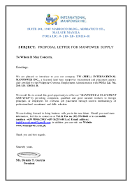 Proposal Letter Sample For Business by Proposal Letter For Manpower Request Tw Phil