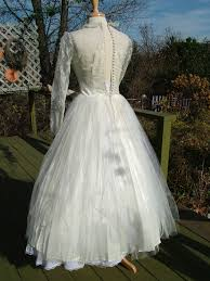 vintage 1950s lace tea length wedding dress very tres chicvery