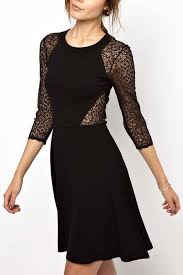 black lace cutout three quarter sleeve dress party dresses women