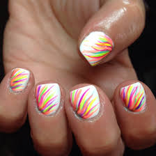 nails nail art white neon rainbow gelish shellac cute summer