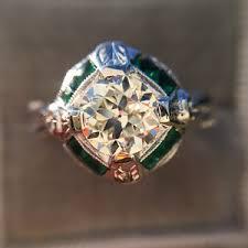 old european cut diamond art deco emerald halo ring jewels by grace