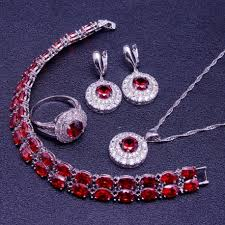 sterling silver necklace set images Red garnet white zircon 925 sterling silver jewelry set jpg