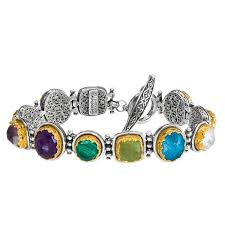 multi colored gold bracelet images Multi color link bracelet gerochristo p6384n silver gold jpg