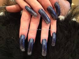 navy polish with silver glitter fade nail art nail designs