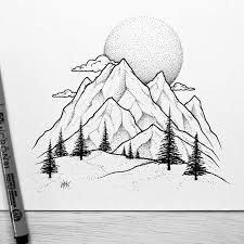 the detail of the trees and dot work on the mountains and moon