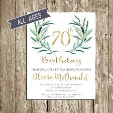 70th birthday invitation birthday invitations for woman green and