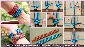 woven weave paracord bracelet images Diy weave two color trilobite bar cuff bracelet tutorial video jpg