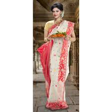 dhakai jamdani white dhakai jamdani saree with border multicolour flowers all