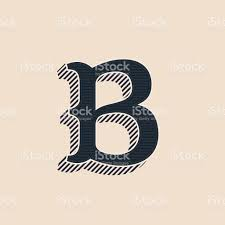 b letter icon in vintage western style with lines shadows stock