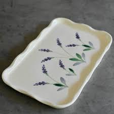painted platter rectangular ceramic serving platter 14x9 white painted