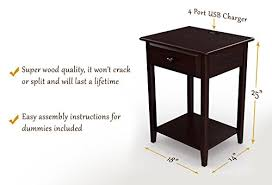 end table with usb port amazon com stony edge night stand end accent table with usb port