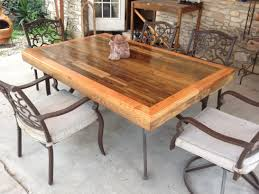 patio tabletop made from reclaimed deck wood steps with pictures
