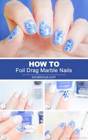 tutorial nail art foil foil drag marble nail art how to