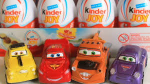 surprise eggs cars 2 lightning mcqueen mater kinder joy surprise