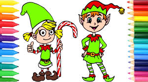 happy elf coloring page for kids drawing for kids with christmas