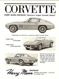 c2 corvette parts 1965 c2 corvette ad harry mann chevrolet retro