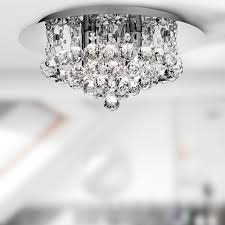 searchlight hanna led semi flush ceiling light crystal chrome ip44