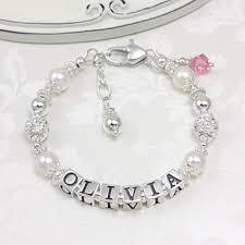 baby name bracelet the gingham grasshopper sparkling baby name bracelet