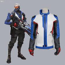 wholesale halloween costume promo codes wholesale soldier 76 pu leather jacket with gloves cosplay