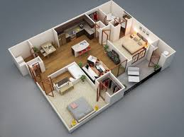 apartments 3d layout design of 2 bedroom apartment with small l