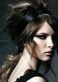 layer hair with ponytail at crown black ribbon with bouffant crown of hair and side bangs and ponytail