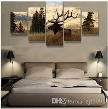 2017 no frame elk in the woods canvas print painting 5 panels wall