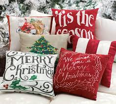 Outdoor Decorative Christmas Pillows by Merry Christmas Sentiment Indoor Outdoor Pillow Pottery Barn