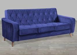 petite navy velvet sofa button tufted