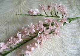 crowning floral spray pale pink blush apricot blossom spray small twig silk flower twig