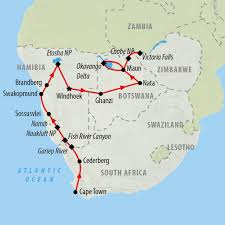 Kalahari Desert Map Namibia Tours And Safari Holidays On The Go Tours
