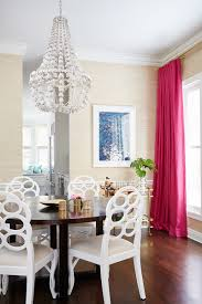 glam dining room chandelier pink curtains wallpaper