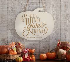 thanksgiving personalized wood pumpkin plaque pottery barn