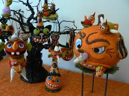 holiday folk art by debbie hawkins needle felted halloween
