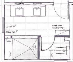 standard 9ft x 7ft master bathroom floor plan with bath and shower