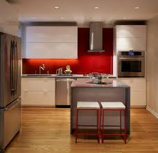 Red Backsplash Kitchen Modern Small Kitchen Kitchen Modern With Apartment Pebble Rock