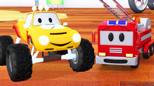 fire truck bulldozer racing car lucas monster truck