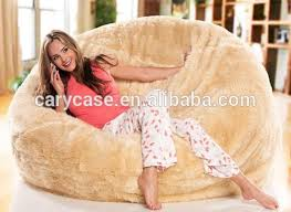 lemon yellow shaggy fur bean bag lounger oversized beanbag soft