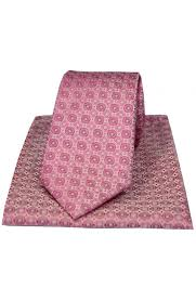 italian mosaic circles in shades of pink colours silk tie and hanky