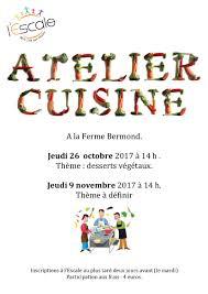 affiche atelier cuisine programme atelier cuisine ferme bermond mjc l île aux trésors