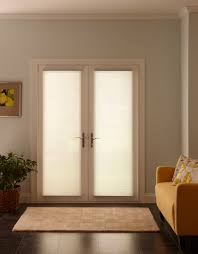 Patio French Doors With Built In Blinds by Furniture White Wooden French Door Using Cellular Shade Closed As