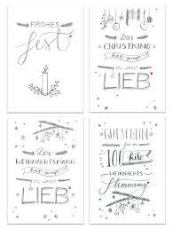 sprüche weihnachtskarten 12 weihnachtskarten mit 4 motiven im handlettering design eine