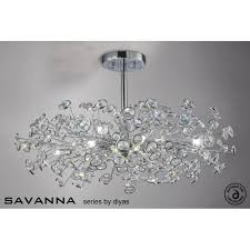 Chrome Ceiling Lights Uk Diyas Savanna Large 8 Light Ceiling Fitting In Polished Chrome