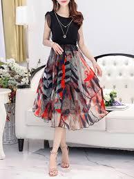 sleeve maxi dress neck printed chiffon petal sleeve maxi dress fashionmia