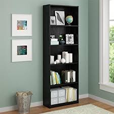 amazon com ameriwood 5 shelf adjustable bookcase set of 2 black