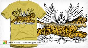 vector t shirt design with tiger vector t shirt designs ai eps