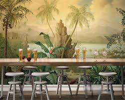 online get cheap wallpaper tropical forest aliexpress com beibehang simple simplicity european style retro oil painting tropical rain forest banana coconut tree wallpaper papel