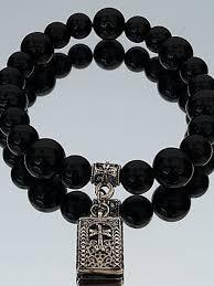 cross beads bracelet images Aren925 onyx 8mm 10mm stone cross beaded bracelet jpg